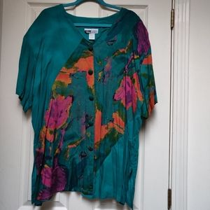 Vintage Dena Lauren Multicolored Button Down Top